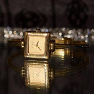Vintage Square Gold Face Gucci Watch Bracelet